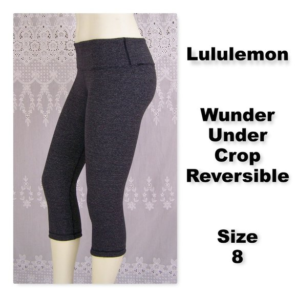 Lululemon Wunder Under Luon Crop Wee Stripe Black
